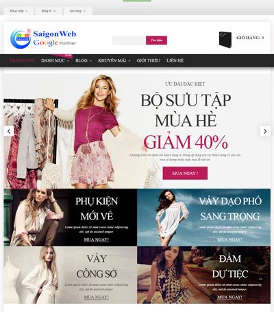 Mẫu website thời trang - mẫu 2