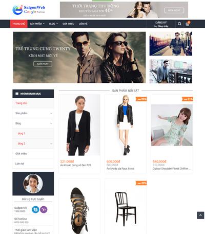 Mẫu website thời trang - mẫu 3