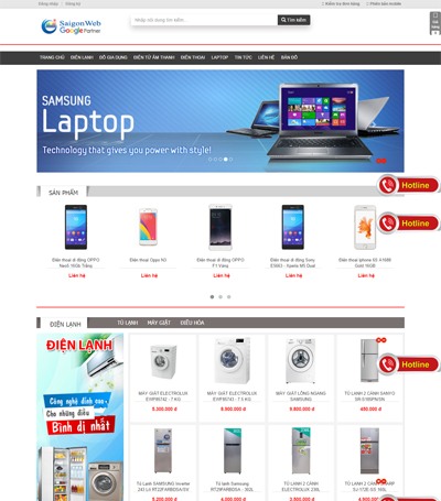 Mẫu website Điện Máy - Mẫu 7
