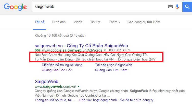 mẫu quảng cáo google adwords