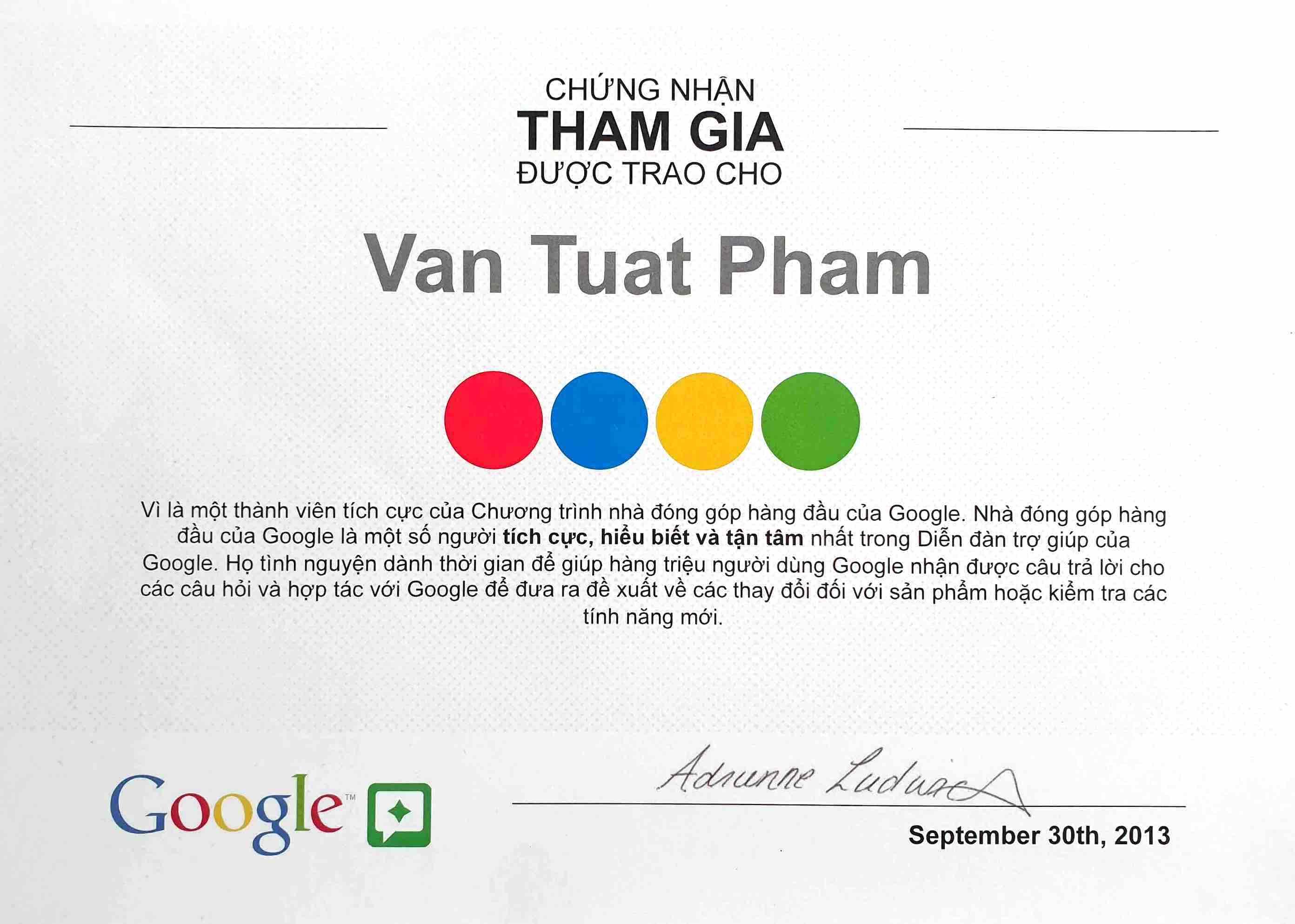 Top Contributor Google  USA  2013